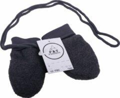 Donkergrijze P&T Wanten Baby met Touwtje - Micro Fleece - 0-1j - Donker Grijs