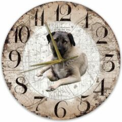 Bruine Creatief Art Houten Klok - 30cm - Hond - Kangal