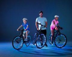 Grijze KEQ Wheely Bright, blauwe fietsverlichting voor wielen – wielverlichting, fietslamp