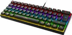 Zwarte Deltaco Gaming GAM-075-UK Mechanisch RGB verlicht gaming toetsenbord / keyboard 60% grootte, rode switches - Kerst Cadeau