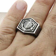 Zijou Zilveren ring heren schild - 19.00 mm / maat 60