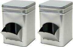 Merkloos / Sans marque 2x Zilveren vierkante opbergblikken/bewaarblikken met dispenser 21 cm - Zilveren koffiecups/suikerklontjes voorraadblikken - Voorraadbussen met dispenser