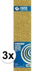 3x Crepe alu papier plat glitter goud 150 x 50 cm - Knutselen met papier - Knutselspullen