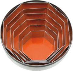 STERNSTEIGER 6-delige roestvrijstalen decoratiesets in doosjes 45-90mm achthoekig effen STERNSTEIGER 6-delig.
