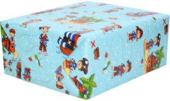 Shoppartners 1x Inpakpapier kinderverjaardag blauw met piraten thema 200 x 70 - cadeaupapier