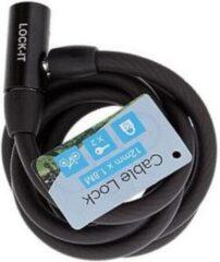 Zwarte Merkloos / Sans marque Kabelslot met 12 mm dik inclusief 2 sleutels verkrijgbaar in 3 kleuren.