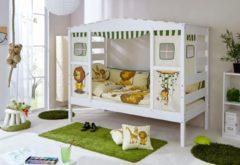 Ticaa Kinderbett in Hausoptik aus massiver Kiefer, wahlweise mit Textil-Set