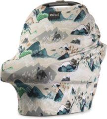 Grijze Milk Snob Cover ROCKY MOUNTAINS | Premium autostoel luifel en hoes voor baby's | Borstvoedingsdoek & Verzorgingssjaal