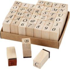 Bruine Creotime stempelset alfabet 13 x 13 x 32 mm 42-delig