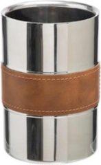 Roestvrijstalen Merkloos / Sans marque Dubbelwandige wijnkoeler RVS en een band van leer | Luxe koeler voor wijn