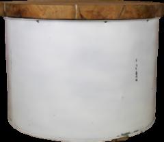 Witte HSM Collection Salontafel Drum - ø55 cm - white resin - teak/ijzer