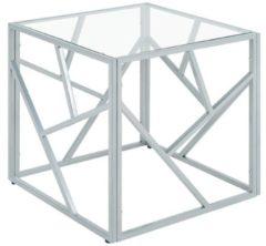 Zilveren Beliani Orland Bijzettafel Glas 50 X 50 Cm