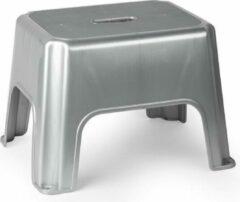 Forte Plastics Zilveren keukenkrukjes/opstapjes 40 x 30 x 28 cm - Keuken/badkamer/kasten opstap verhoging krukjes/opstapjes
