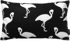 Witte Gek op Kussens! Black & White Flamingo Kussenhoes | Katoen/Flanel | 30 x 50 cm