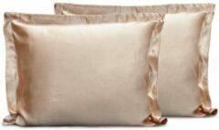 Elegance Beauty Skin Care Kapselsloop - kussenslopen - taupe 60x70cm - 2 stuks - Satijn - Oxford Rand