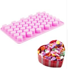 Roze Siliconen Hartjes Cake Vorm – Fondant & Koekjes Vormen – Cakevorm – Bakvorm – Bakset – Koek Vormpjes – 55 Hartjes – EPIN 3D