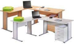 4-tlg Schreibtisch Set Computertisch Ecktisch Winkeltisch PC Tisch Bürotisch Aktano 430 VCM Buche