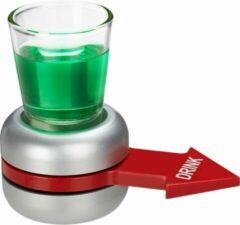 Relaxdays drinkspel flesje draaien - drankspel spin the bottle - 2 cl shotglaasje