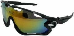 Zwarte Nihao Biscay Sportbril 1.1mm Polarized. 2 extra lens verwisselbare lenzen. Anti-Reflect coating.