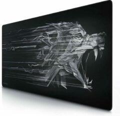 Grijze Titanium wolf Gaming muismat | muismat | randen zonder franjes | het speciale oppervlak verbetert je snelheid en nauwkeurigheid | antislip | 1200x 600 cm - XXXL muismat gaming - type 3