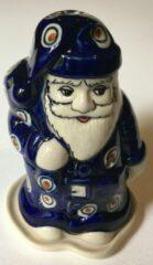 Blauwe Bunzlau Kerstman voor waxinelichtje, Kerst X-mas