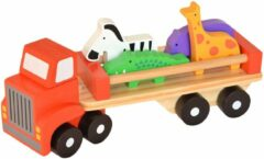 Tooky Toy vrachtwagen met dierenfiguren 26,5 cm hout rood 6-delig
