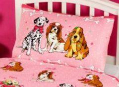 Kidz Roze hondjes dekbedovertrek - eenpersoons maat met 1 kussensloop