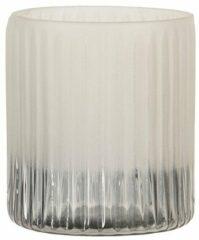 Clayre & Eef Glazen Theelichthouder 6GL3174 Ø 8*8 cm Grijs Glas Rond Waxinelichthouder Windlichthouder