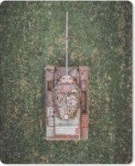 MousePadParadise Muismat Tanks - Drone shot van een verlaten tank muismat rubber - 19x23 cm - Muismat met foto