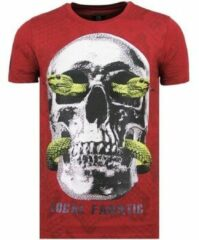 Rode Local Fanatic Skull Snake - Fun T shirt Mannen - 6326B - Bordeaux - Maten: XL