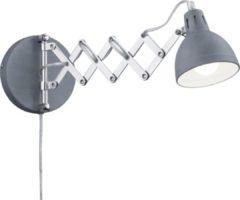 Grijze Trio Reality, Wand lamp, Scissor 1xE14, max.28,0 W Metaal, Beton kleur, Armatuur: Metaal, Beton kleur Ø:15,0cm, Ø:53,0cm Snoerschakelaar,Draaibaar,Wand montage,,,