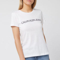 Witte Calvin Klein Jeans Women's Institutional Logo Slim Fit T-Shirt - Bright White - S
