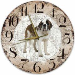 Bruine Creatief Art Houten Klok - 30cm - Hond - Sint Bernard