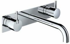 Hotbath Cobber inbouw wastafelmengkraan 3 gats met achterplaat met 25 cm uitloop mat wit HBCB005T/CB006TEXT25WH