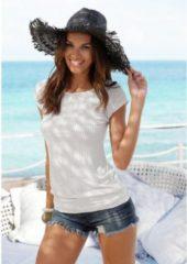 Naturelkleurige LASCANA lang shirt met brede boord