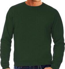 Bc Grote maten sweater / sweatshirt trui groen met ronde hals voor heren - groene / donkergroen - basic sweaters 4XL (60)