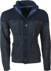Marineblauwe Earthbound - Heren Vest - Grof Gebreid - Capuchon - Navy