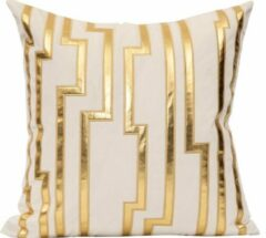 Kussenart Kussenhoes Vierkant - Wit Met Gouden Strepen - 45cm x 45cm - Velvet/Fluweel - Sierkussens