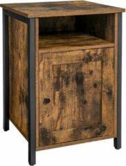 Saveproducts VASAGLE Nachtkastje, nachtkastje met plank, open vak, metalen frame, industrieel ontwerp, 40 x 40 x 60 cm, voor slaapkamer, woonkamer, vintage bruin-zwart LET065B01