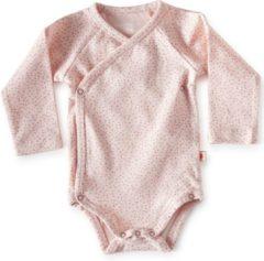Little Label - baby - overslag-romper - lichtroze, roze stipjes - maat 80 - bio-katoen