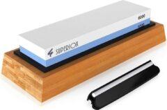 Blauwe Swilix Wetsteen - Slijpsteen met Bamboo Houder - 1000/6000 Grit - Antislipvoet - Inclusief Hoekgeleider