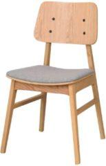 Bruine Nordiq Nagano houten eetkamerstoel - Grijze zitting