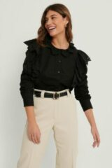 MANGO Blouse Met Ruches - Black