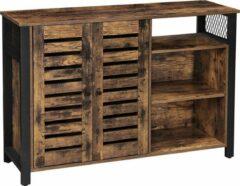 Acaza Kast, Dressoir met 2 deuren, verstelbare planken, voor eetkamer, woonkamer, keuken, 114 x 33 x 75 cm, industrieel ontwerp, vintage bruin-zwart