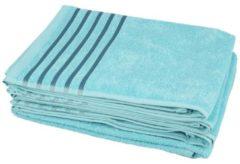 CLASS HOME COLLECTION Handtuch türkis mit Streifen, 50 x 100 cm, 4er-Set