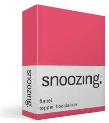 Snoozing flanel topper hoeslaken - 100% geruwde flanel-katoen - Lits-jumeaux (160x210/220 cm) - Roze