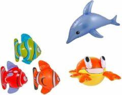 Folat Set van 3x Opblaasbare vissen een dolfijn en een krab