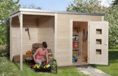 Weka tuinhuis met overkapping 413 Type A GR1 250x400cm