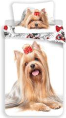 Animal Pictures Dekbedovertrek Yorkshire Terrier - Eenpersoons - 140 X 200 Cm - Wit