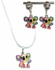 Paarse MNQ bijoux - Clipoorbellen - Oorclips - Ketting - Verzilverd - Koala - Roze